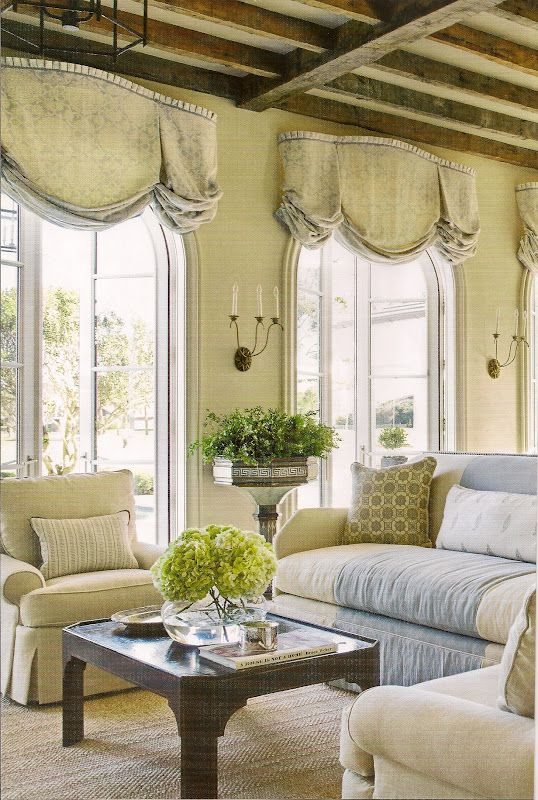Soft Balloon Shade Valance With Pleated Header Over Arched French Doors,  THE CEILING.Love Everything About This Room!