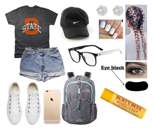 """""""Challenge Camp: Game Day"""" by jillibean0025 ❤ liked on Polyvore featuring NIKE, Retro Brand, Levi's, Converse, Lacoste, River Island, The North Face and Burt's Bees"""