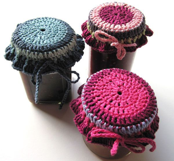 Crocheted jar toppers. ... .just did my first one in shades of yellow, plan to make a set in different colours