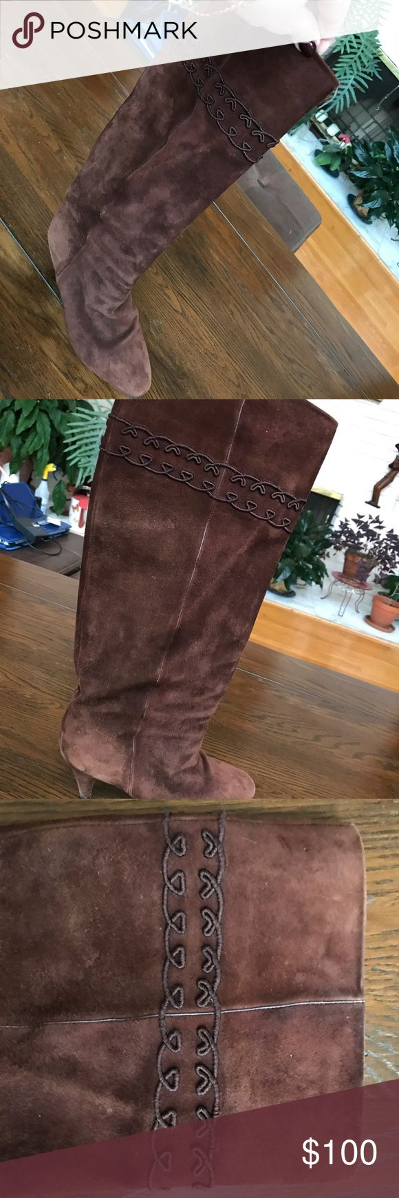 Gucci boots 81/2 B suede brown So elegant and classy boots. The calves are too tight for me. Heels 3 inches. Has some wear on the heels but you can not notice when you have it on. Good used condition and the price reflects it. Gucci Shoes Ankle Boots & Booties