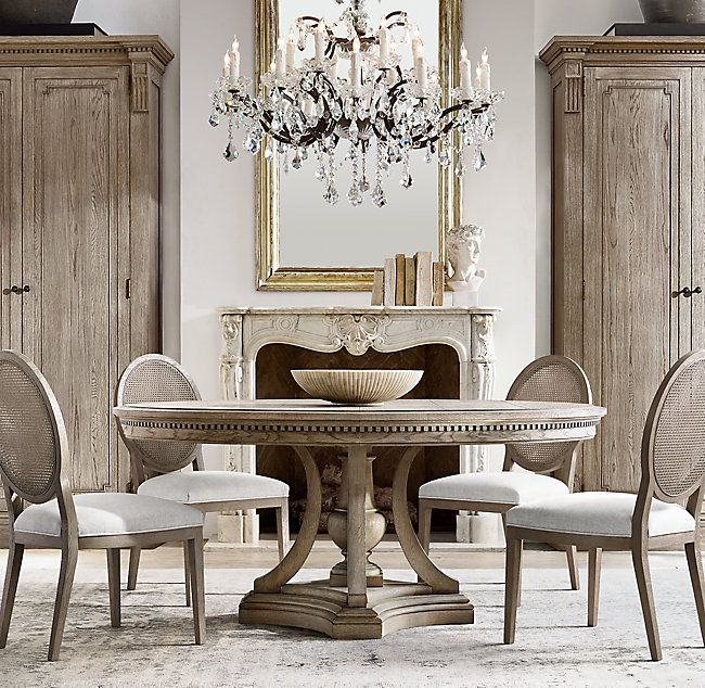 French Contemporary Round Cane Back Fabric Side Chair Round Dining Table Luxury Dining Room Dining Room Design