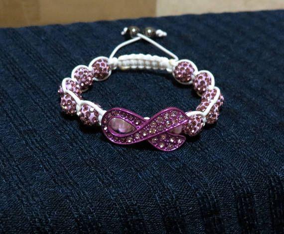Purple Ribbon Awareness Crystal Pave Bead Macrame