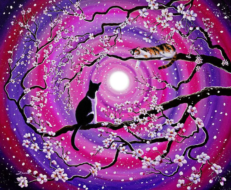 Calico And Tuxedo Cats In Swirling Sakura by Laura Iverson