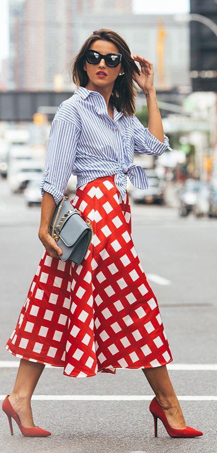Checkered Midi Skirt Fall Inspo by Lovely Pepa