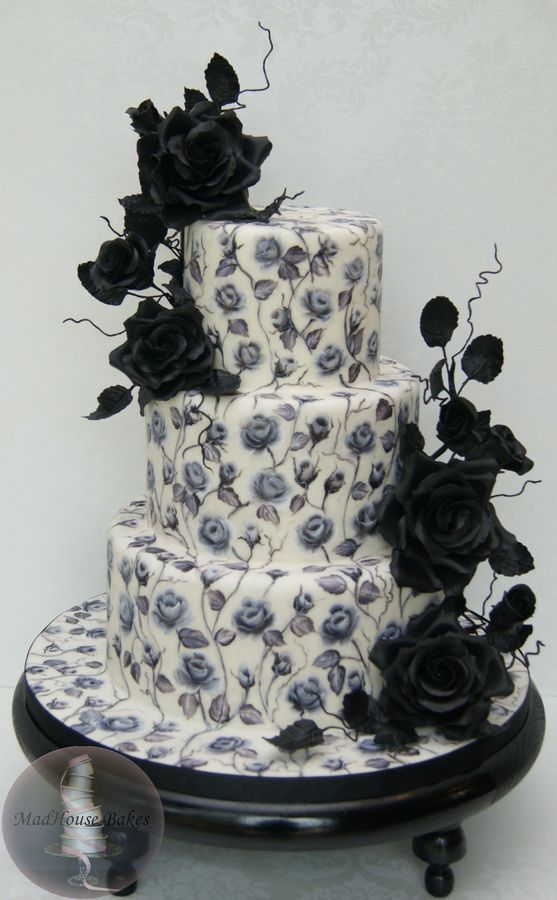 Black Roses - a Hand-Painted Cake by MadHouse Bakes
