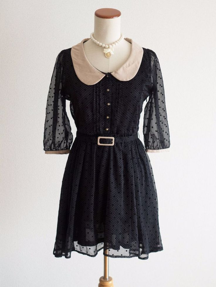 🌹dazzlin🌹Organza Polka Dot Preppy Dress Japan Size M Romantic Lolita Hime Gal #dazzlin #Peplum #Shibuya109Lolitafashion