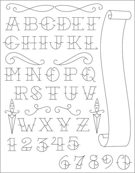 American traditional tattoo alphabet