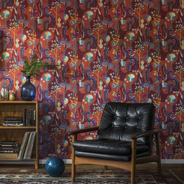 wallpaper Tistlar red, design Dagmar Lodén