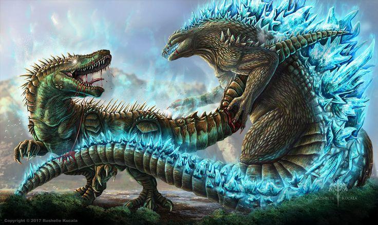 Godzilla VS. Atomic Rex by TheDragonofDoom.deviantart.com on @DeviantArt