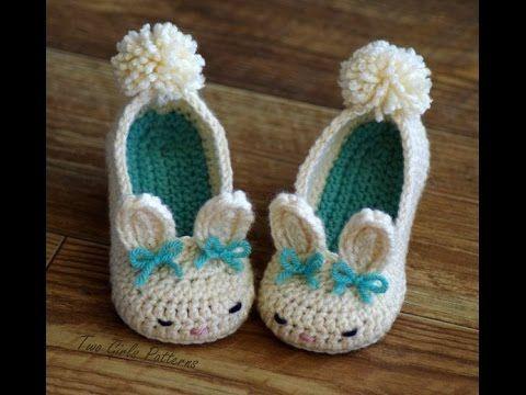 ▶ Pantuflas tejidas a crochet para bebe - YouTube