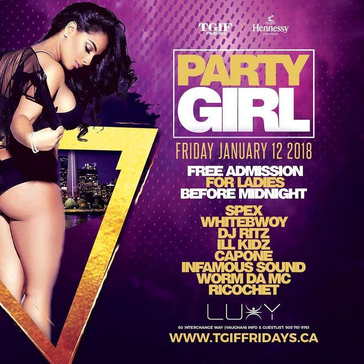 Friday Jan 12th  Free Admission for Ladies Before MidNight!  TGIFfridays & Hennessy Presents #PartyGirl Inside @luxynightclub - For VIP Booths and Guest List  647-648-2685 . . #PartyWithBash #canada #Toronto  #party #Life #Nightlife #Downtown #fashion #urban #lifestyle #good #times #ovo #xo #music #hiphop #reggae #trap #socca #hennessy #vodka #happy #fun #Friday #Luxy #nightclub #Vegas #hollywood #newyork