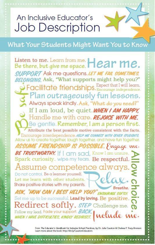 An inclusive educator's job description (from Julie Causton's Educator's Handbook for Inclusive School Practices, Brookes Publishing)
