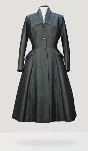 Christian Dior Haute Couture  s/s 1952. Steel-grey wool day coat, 'Longchamp' model