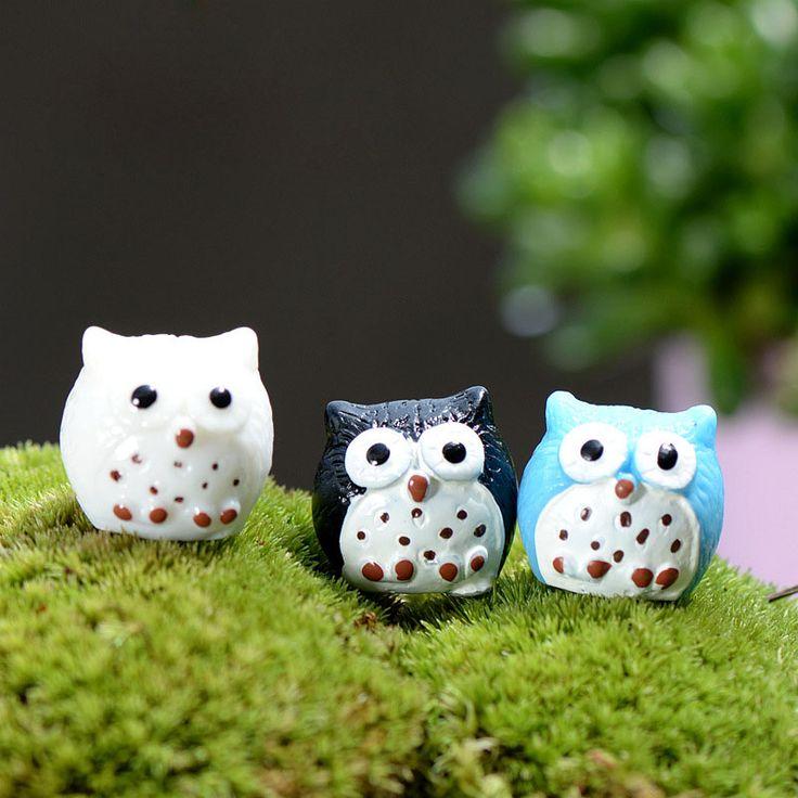 1Pcs Cute Owl DIY Resin Fairy Garden Craft Decoration Miniature Micro Gnome Terrarium Gift F0192