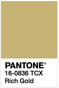 PANTONE 16-0836 TCX Rich Gold Color Values: RGB: 200-178-115 HEC/HTML: C8B273