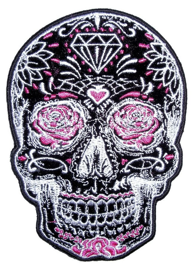 Day Of The Dead Sugar Skull Ladies Embroidered Biker Patch – Quality Biker Patches Great for women or men, this patch comes big enough for the back of a biker jacket.