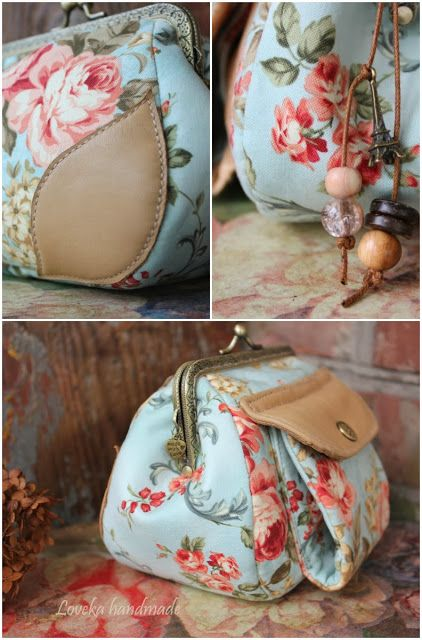 Loveka Handmade: Two purse with a clasp, cotton and leather handbag with double clasp of Oxfordian Cath Kidston