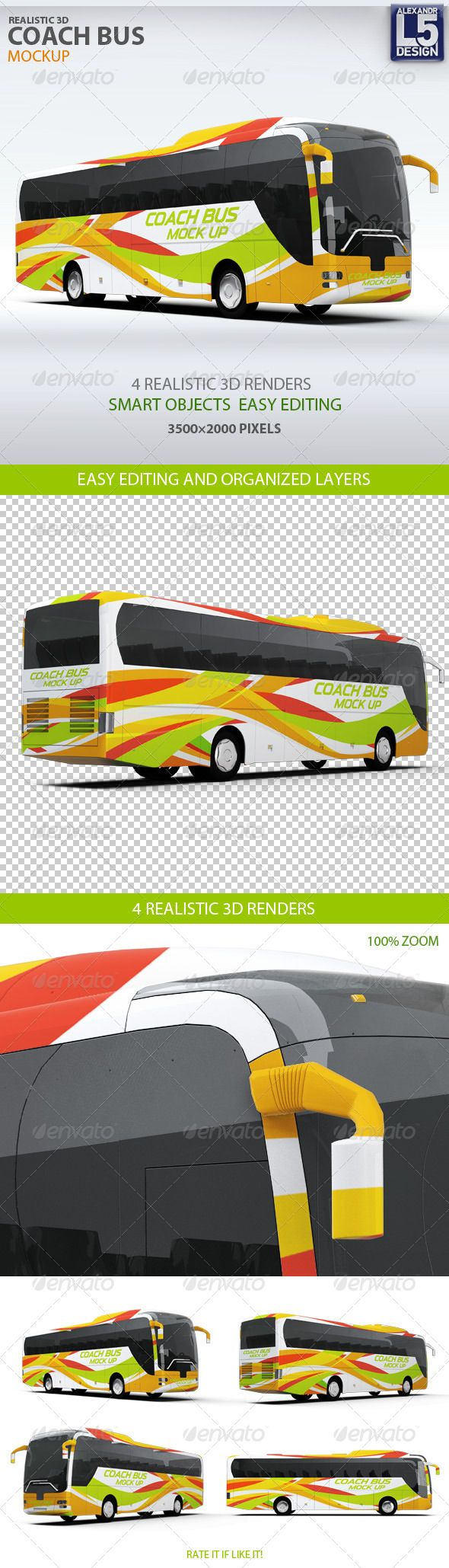 Coach Bus mockup — Photoshop PSD #transportation #mobile • Available here → https://graphicriver.net/item/coach-bus-mockup/8171980?ref=pxcr