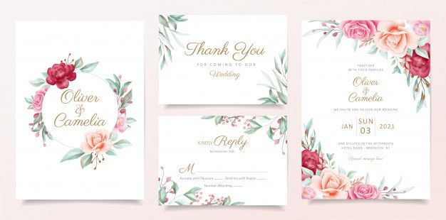 Wedding Invitation Card Template Set With Watercolor Floral Frame And Border Wedding Invitation Cards Wedding Invitation Card Template Floral Wedding Invitation Card