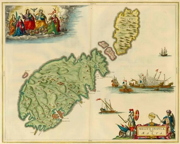 """April 27, #MaltaMapMonday offers us a wonderful 17th century colored map with illustrations, including naval battles, the Holy Family, and a Knight and Ottoman Turk. The map comes from J. Blaeus Grooten, """"Atlas, oft Werelt- Beschryving, in welcke 't Aerdryck, de Zee, en Hemel, wort vertoont en beschreven"""" (Amsterdam, J. Blaeu, 1664)."""