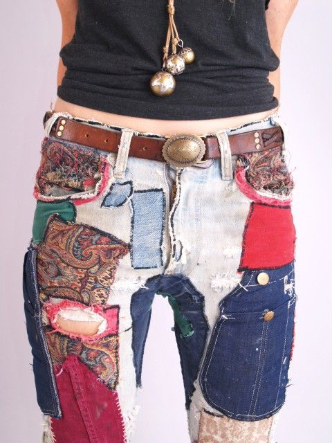 Vtg 70s Levis Patchwork Hippie Boot Frayed Ripped Jeans | eBay