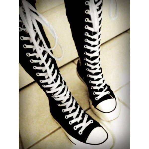 Kniehohe Converse-Chucks? (Siehe Beschreibung!) (online, Schuhe, Ebay) ❤ liked on Polyvore featuring accessories