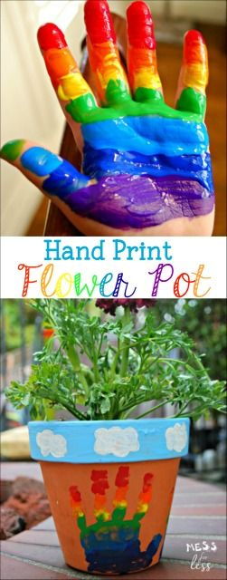 made this rainbow hand print flower pot with the kids and it was so easy and - Kid Prints