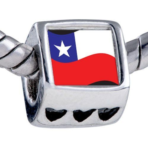 Pugster Silver Plated Photo Bead Chile Flag Beads Fits Pandora Bracelet Pugster. $12.49. Hole size is approximately 4.8 to 5mm. Unthreaded European story bracelet design. Fit Pandora, Biagi, and Chamilia Charm Bead Bracelets. It's the photo on the heart charm. Bracelet sold separately
