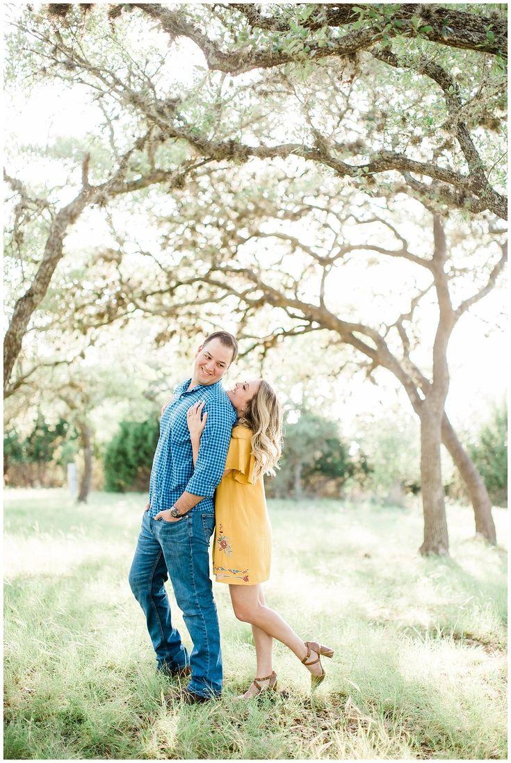 yellow dress wrap dress san antonio film photography canyon lake engagement phot…