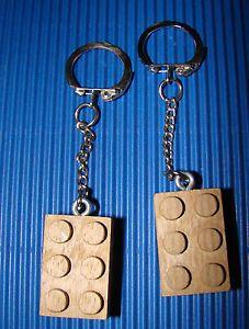 Portachiavi tipo mattoncino Lego in legno pregiato (abura, noce, ciliegio)