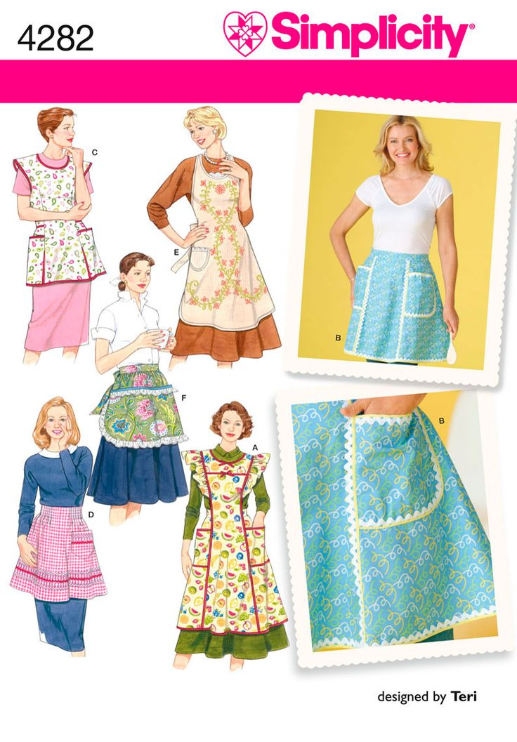 Simplicity : 4282Aprons Pattern, Vintage Aprons, Simplicity 4282, Aprons Sewing, Pattern 4282, Apron Patterns, Simplicity Patterns, Vintage Style, Sewing Patterns
