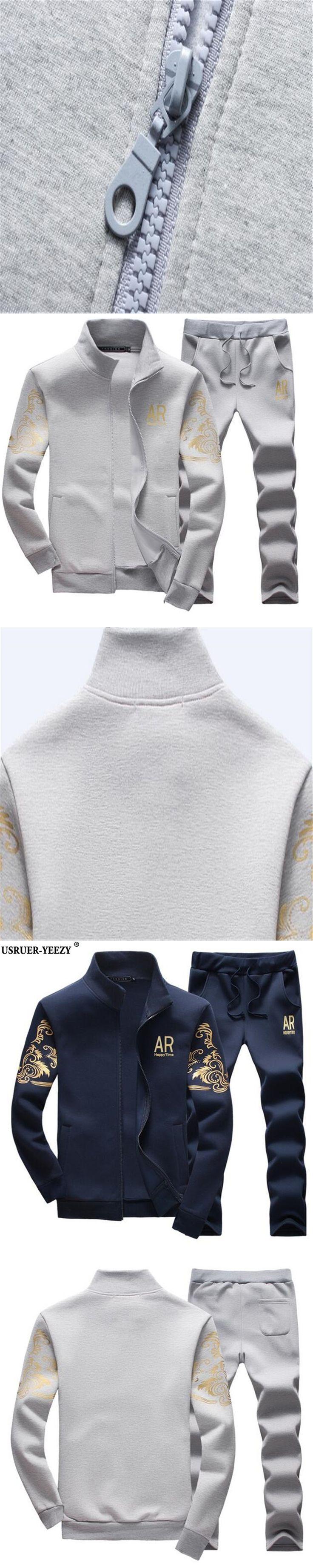 USRUER-YEEZY Hot Sell M-5XL Mens Casual Sets Fashion Teen Preppy Style Sportswear Sweatshirts+Sweatpants Trousers Brand Clothing