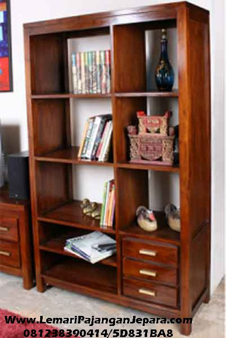 Rak Buku Jati Laci Minimalis Jepara Idea Deko Pinterest Furniture Shelves And House