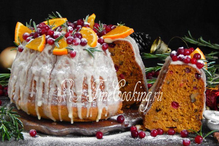 Рождественский кекс с тыквой, орехами и клюквой