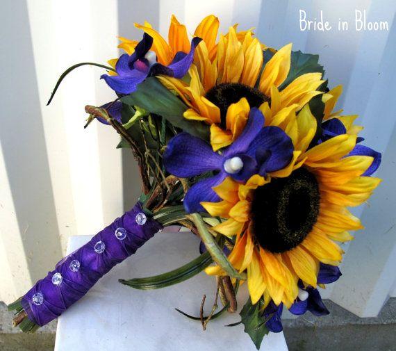 Sunflower wedding bouquet silk bridal by BrideinBloomWeddings, $90.00