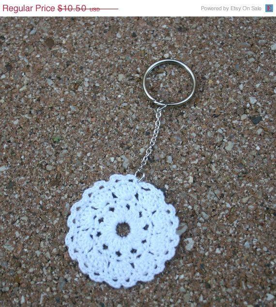 Crochet Stitches Key : Crochet Keychain Doily Keychain Crochet Keyring by GingerKnitz, $8.92