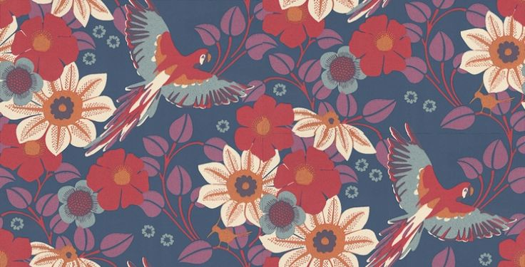 Papegojnypon (1311) - Boråstapeter Wallpapers - Tropical birds fly between leaf trails and colourful flowers in a hand painted effect. Showing in red, cream and purple on a dark blue background. other colour ways available. Please request a sample for true colour match.