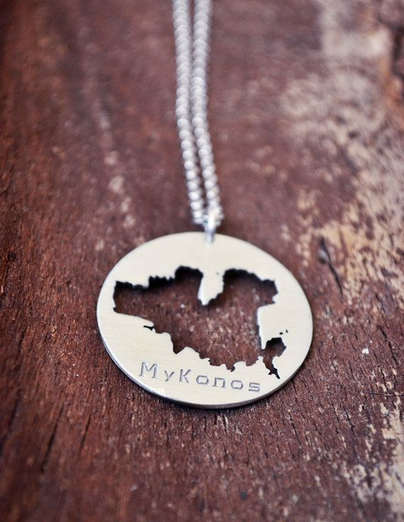 Our Cute Mykonos Island Necklace from our Summer In Greece Collection. Our Ultimate Greece Lovers Necklace with the Mykonos Island map outline and