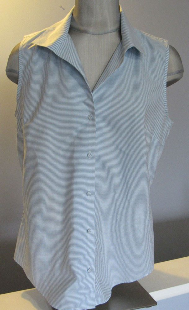 c764fe895e7d6d Talbots Pinstripe blouse Size 12 Wrinkle resistant Light blue White  Sleeveless #Talbots #Blouse #Casual