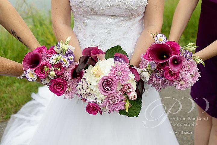 Created by Wedding Belles Decor, Bride and Bridesmaids looked gorgeous - bouquets in tones of purple, lavender, plum and white. Wedding at the Brookstreet in Kanata, Ontario. Beautiful photo by Phillipa Maitland Photography at www.phillipa.ca  #ottawadecor #ottawaflowers #weddingdecor #weddingideas #weddinginspiration #ottawawedding #ottawadecorator #613 #elegantwedding #uniquewedding #WeddingBellesDecor #ottawaweddingdecorator #bouquets #callas #brookstreet