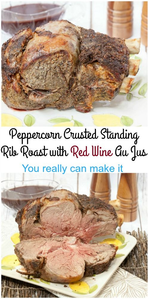 I never realized how easy this was to make! Melt in your mouth, so good! Healthy Peppercorn Crusted Standing Rib Roast with Red Wine Au Jus @certangusbeef  #RoastPerfect #SundaySupper #ad