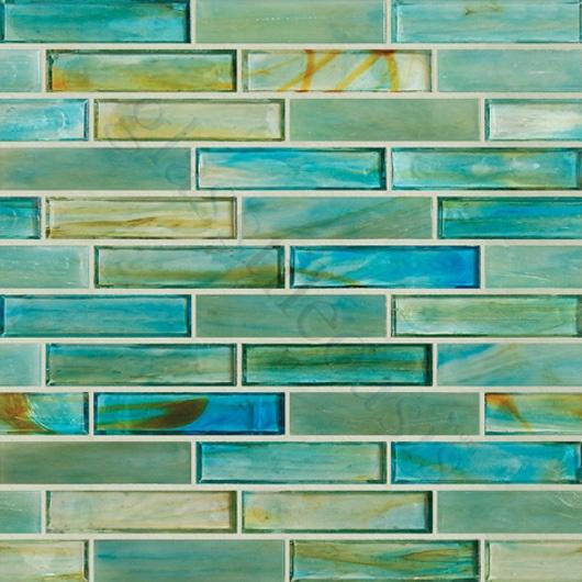 "Botanical Glass  Bathroom, 1"" x 4"", Caribbean, Glossy, Green, Glass Tiles"