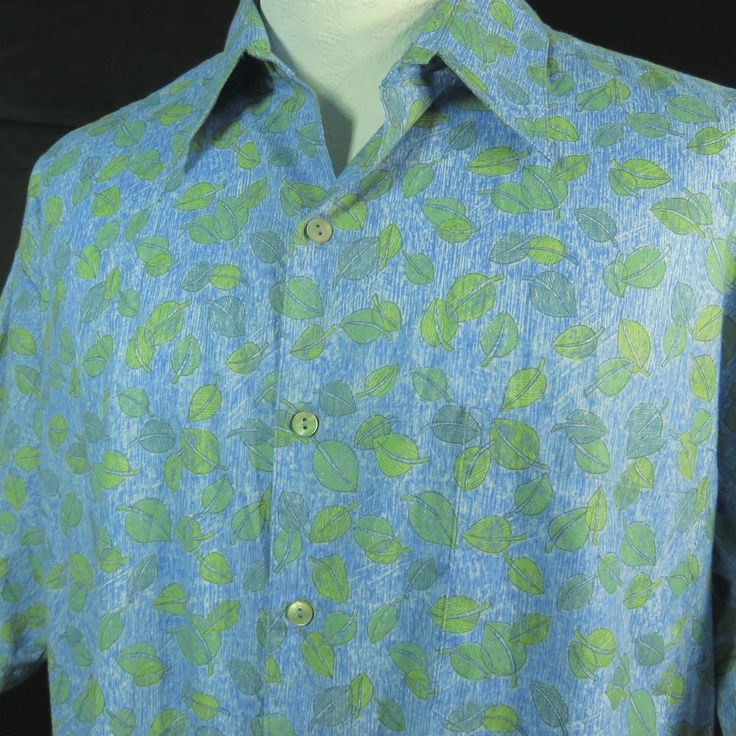 Tori Richard Hawaiian Shirt Mens L Light Blue Green Cotton Lawn NEW Aloha Cruise #ToriRichard #Hawaiian