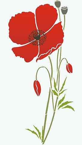 Giant Wild Poppy Stencil