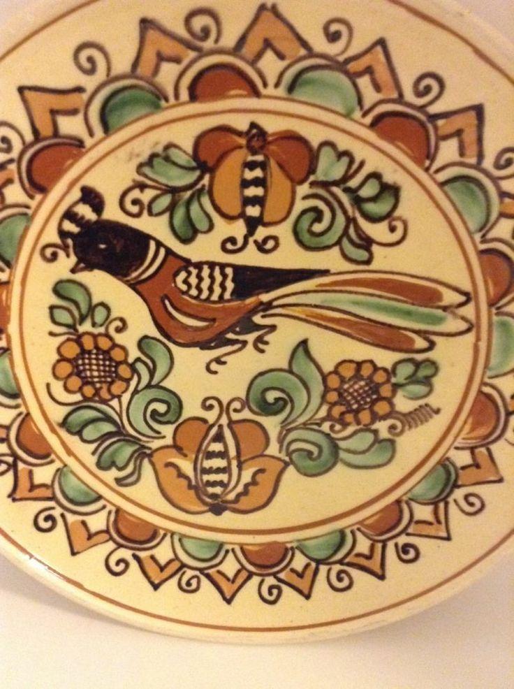 Beautiful Mathe Denes Korond Pottery Decorative Plate Multi Color Bird Flowers