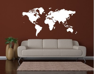 An easy way to get the world map on your wall. I read about a couple who actually painted one like this by hand with the help of a projector. I wish I had a free wall for this in the kids' rooms...