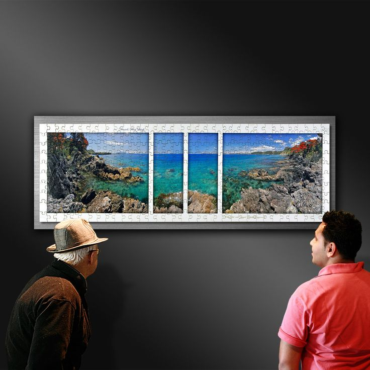 """Daniels Reef - A Beautiful rugged playground on the Matakana Coast. The framed jigsaw puzzle from the book """"Matakana Coast and Country 1"""" For sale @https://ianandersonfineart.com/product/panorama-jigsaw-puzzle-daniels-reef-leigh-on-the-matakana-coast/n"""