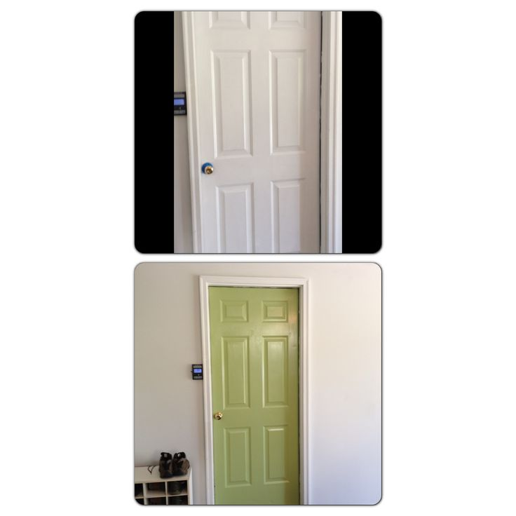 Before and after. Painted a boring white garage door to