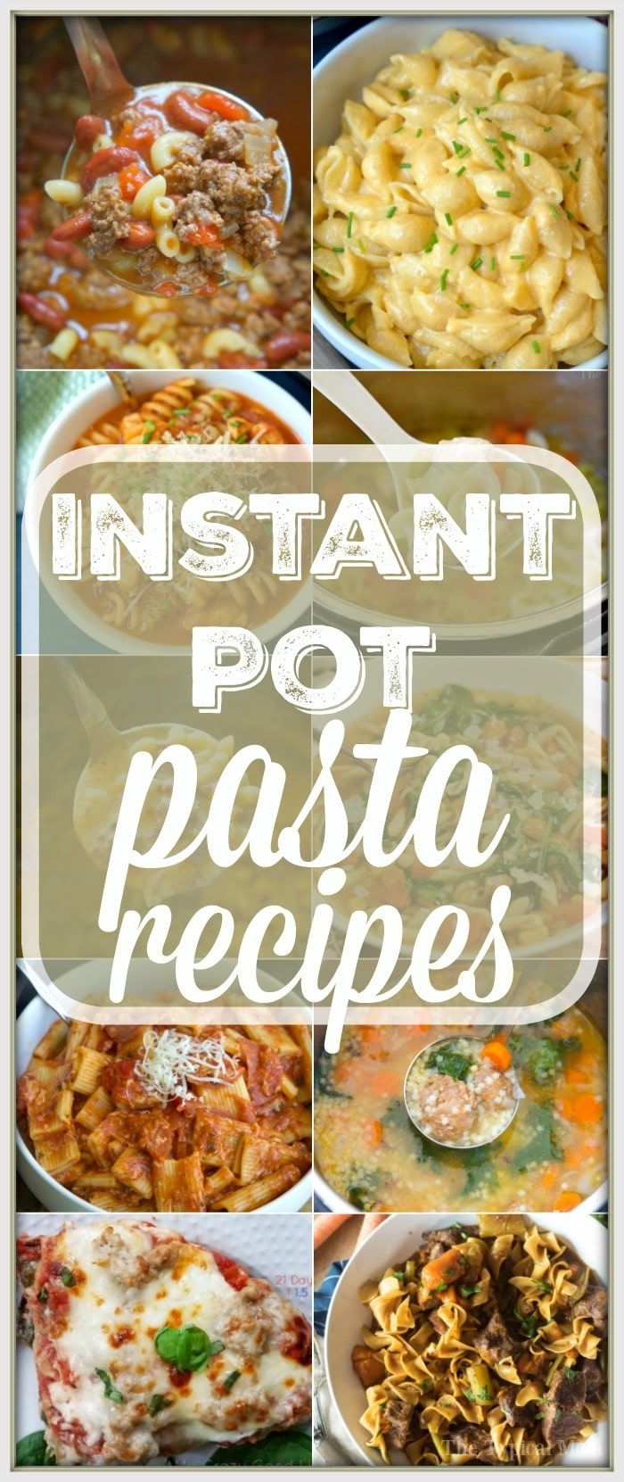 Here are 17 easy Instant Pot pasta recipes to get you started with your pressure cooker! Simple soups and main dishes with pasta in them that we love. #instantpot #pasta #recipes via @thetypicalmom