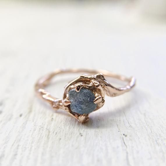 Sapphire Engagement Ring Sapphire Ring Natural Blue Sapphire Rustic unique alternative women unconventional crystal anniversary